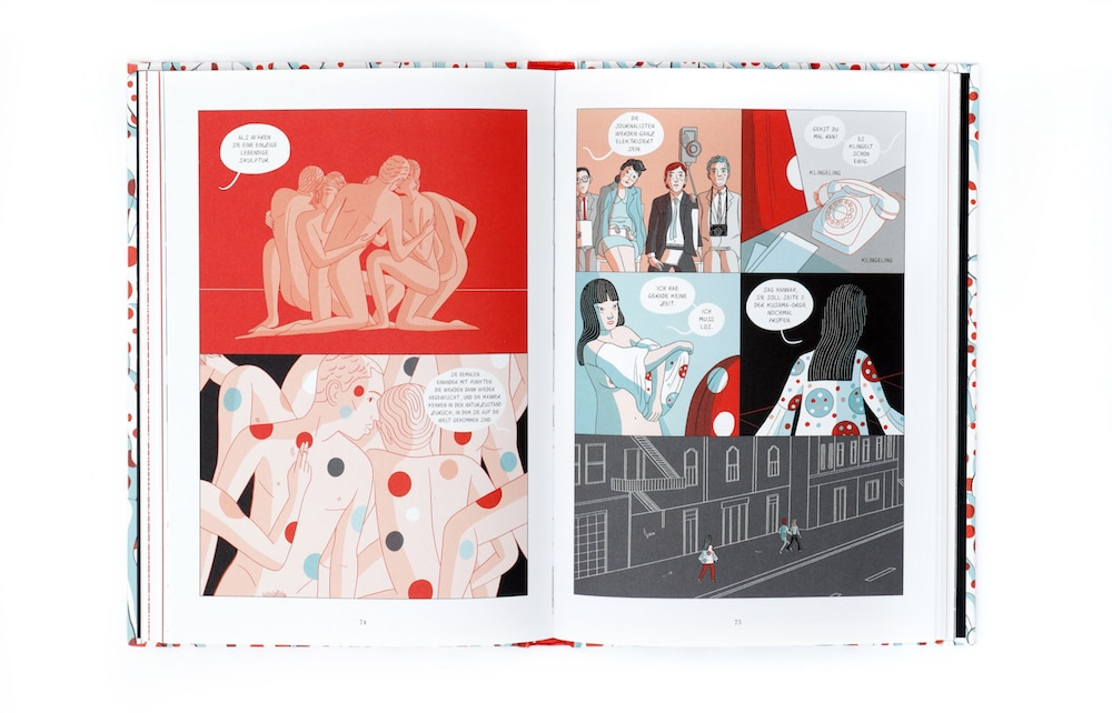 Graphic Novel über Yayoi Kusama, man sieht gepunktete Körper