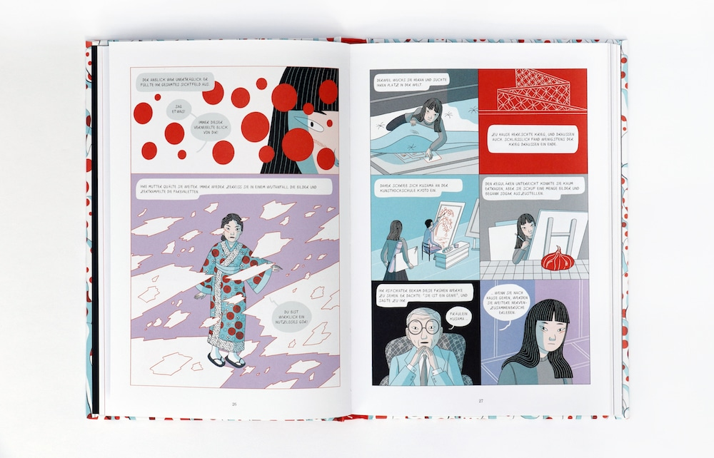 Graphic Novel über Yayoi Kusama, man sieht Kusamas Eltern