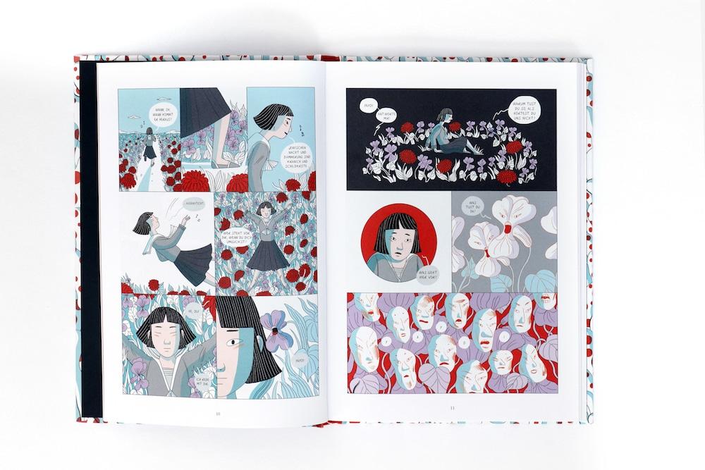 Kusama Graphic Novel, Kusama halluziniert sprechende Blumen