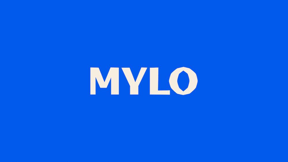 Leuchtend blaues Logo für Mylo