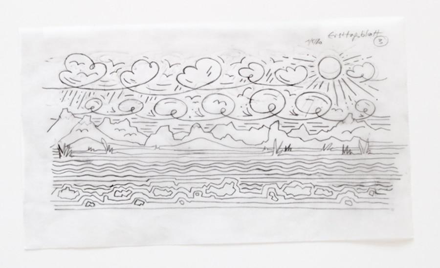 Landschaft in Bleistift gezeichnet mit Meer, Sonne und Himmel