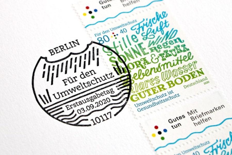 Der Präsensstempel der Briefmarke, der nur am Tag des Erscheinens gestempelt wird