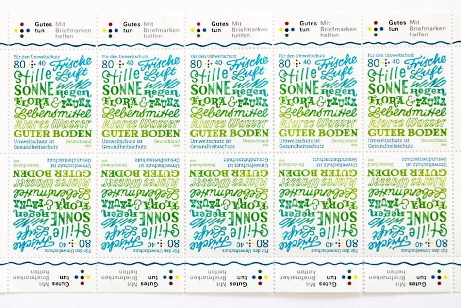 Zehner-Briefmarkenbogen der Umweltmarke von Chris Campe