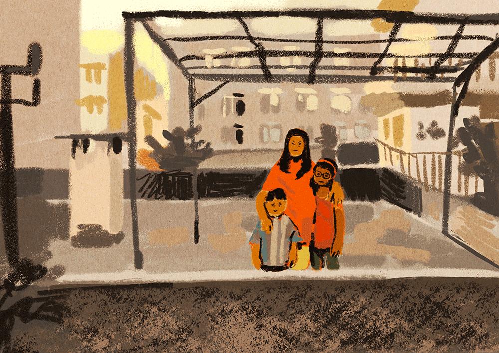 Digitale Zeichnung und Illustration von Ayşe Klinge mit dem Titel »Cousins on a roof«