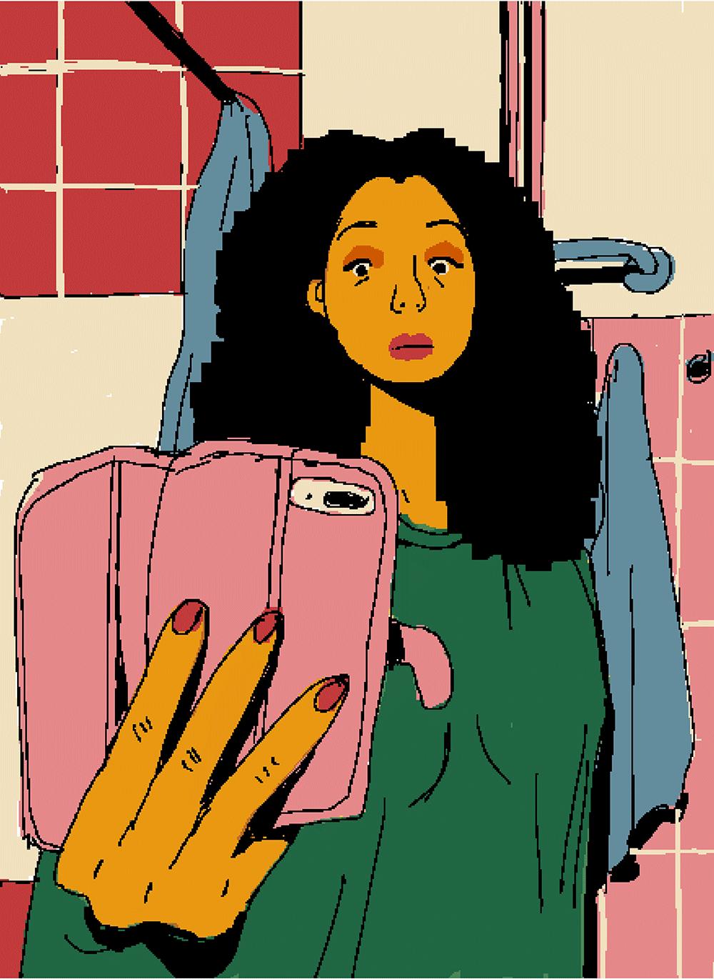 Illustriertes Selfie von Ayşe Klinge