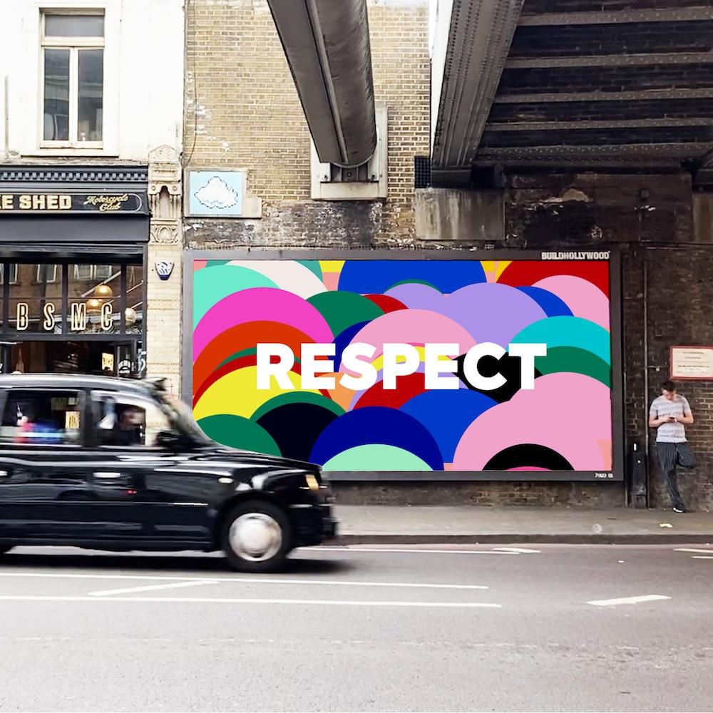 Bunt bemalte Wand mit Respect