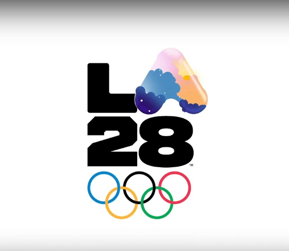 Logo für die Olympischen Sommerspiele 2028 in LA mit eiscremfarbenem A versehen