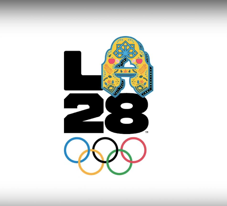 Logo für die Olympischen Sommerspiele 2028 in LA mit Folklore A versehen