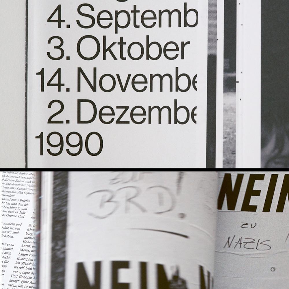 Preis der Stiftung Buchkunst: Das Jahr 1990 freilegen, Typografie