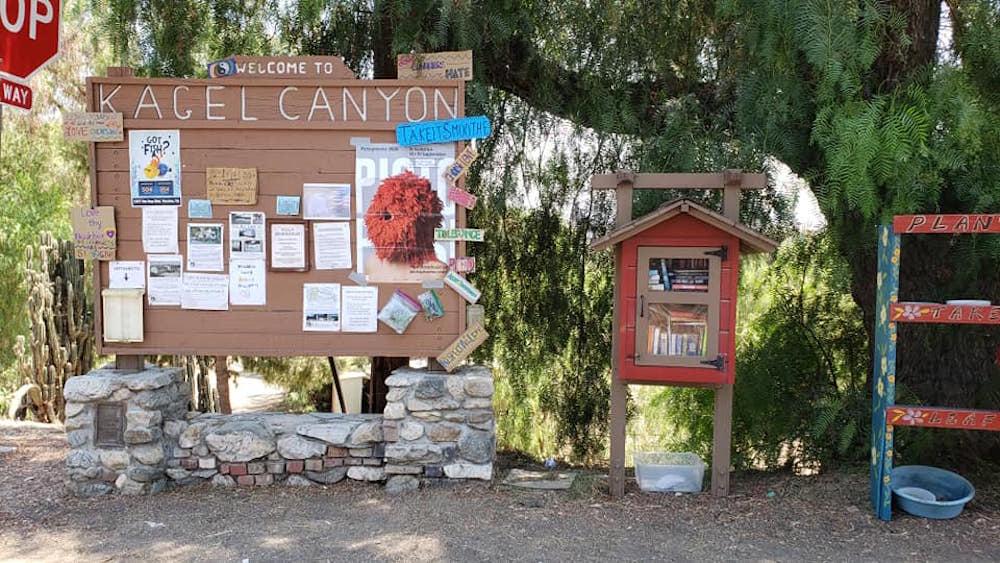 Pictoplasma Plakat, das an Holzwand im Kagel Canyon in Kalifornien hängt