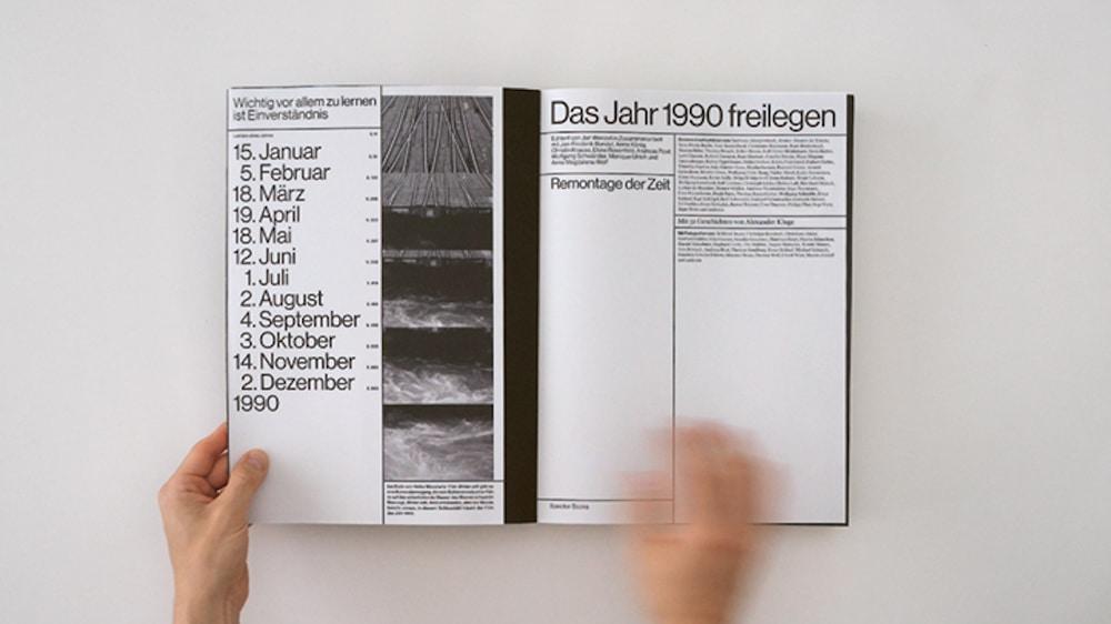 Preis der Stiftung Buchkunst: Das Jahr 1990 freilegen, Blick auf das inhaltsverzeichnis