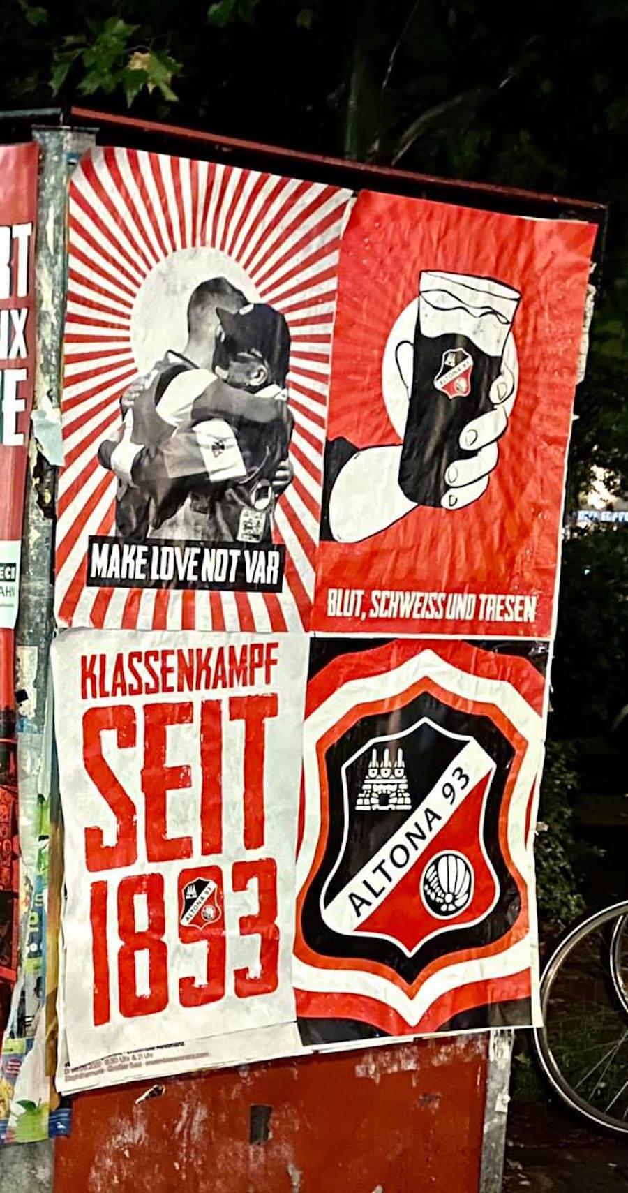 Plakate für Altona 93 Blut, Schwaeiss und Tresen oder Make Love not VAR