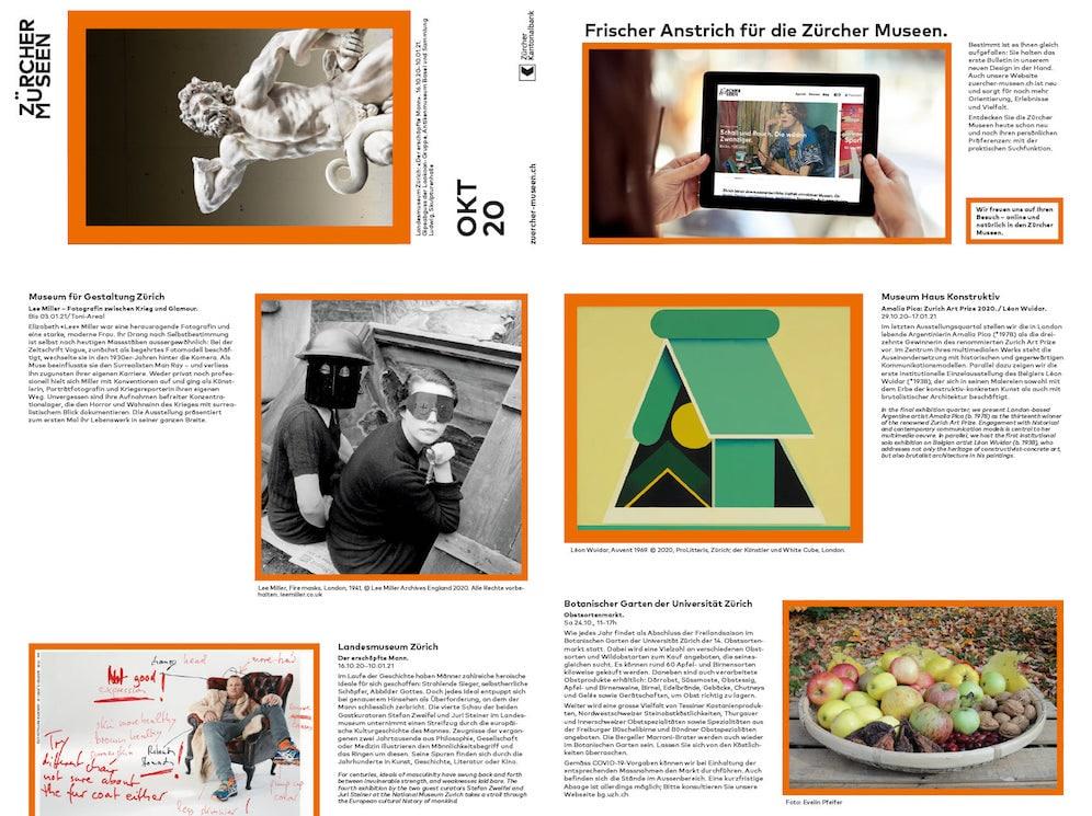Branding Monatsprogram Zürcher Museen