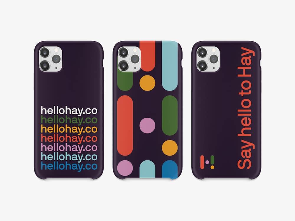 Say Hello to Hay Smartphone Cases mit bunten Mustern und Schift