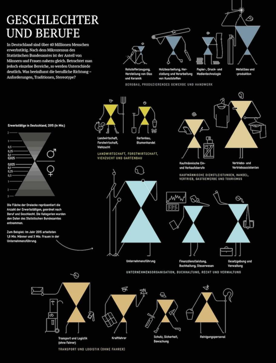 Infografiken Geschlechter und Berufe »Die Welt verstehen mit 264 Infografiken« Jan Schwochow