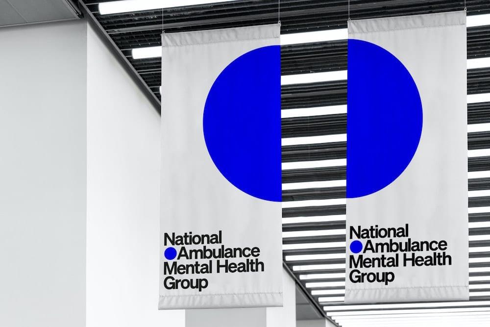 Banner von Pentagram für NAMHG mit leuchtend blauen Kreis