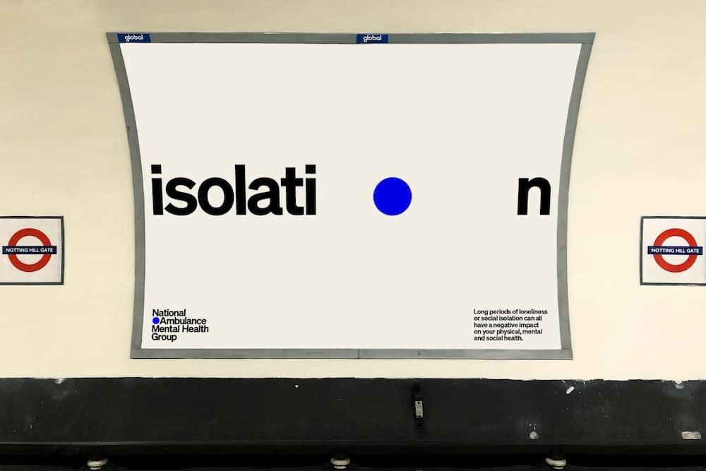 Isolation in der Identity von Pentagram für NAMHG in der U-Bahn