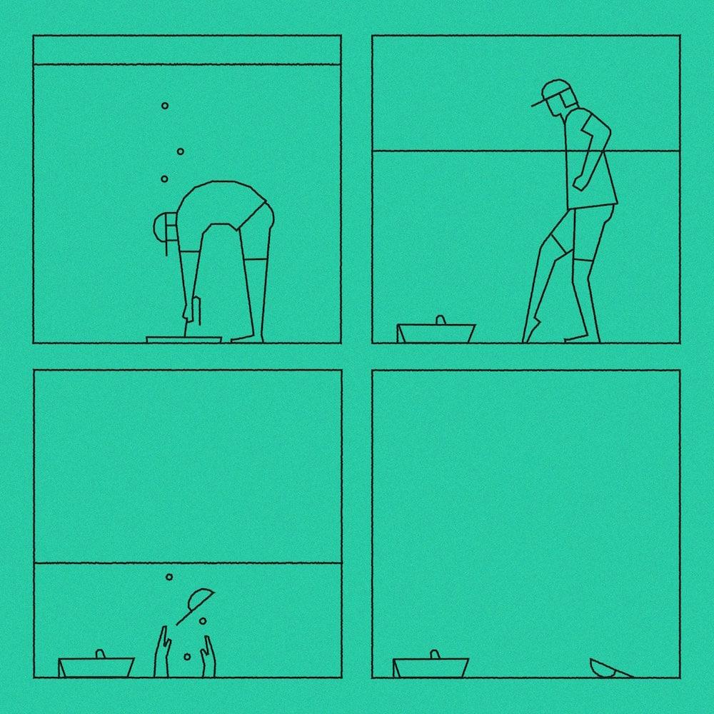 Sebastian König »In Shorts«, Bild mit Mann im Ausguss ganz in Grün