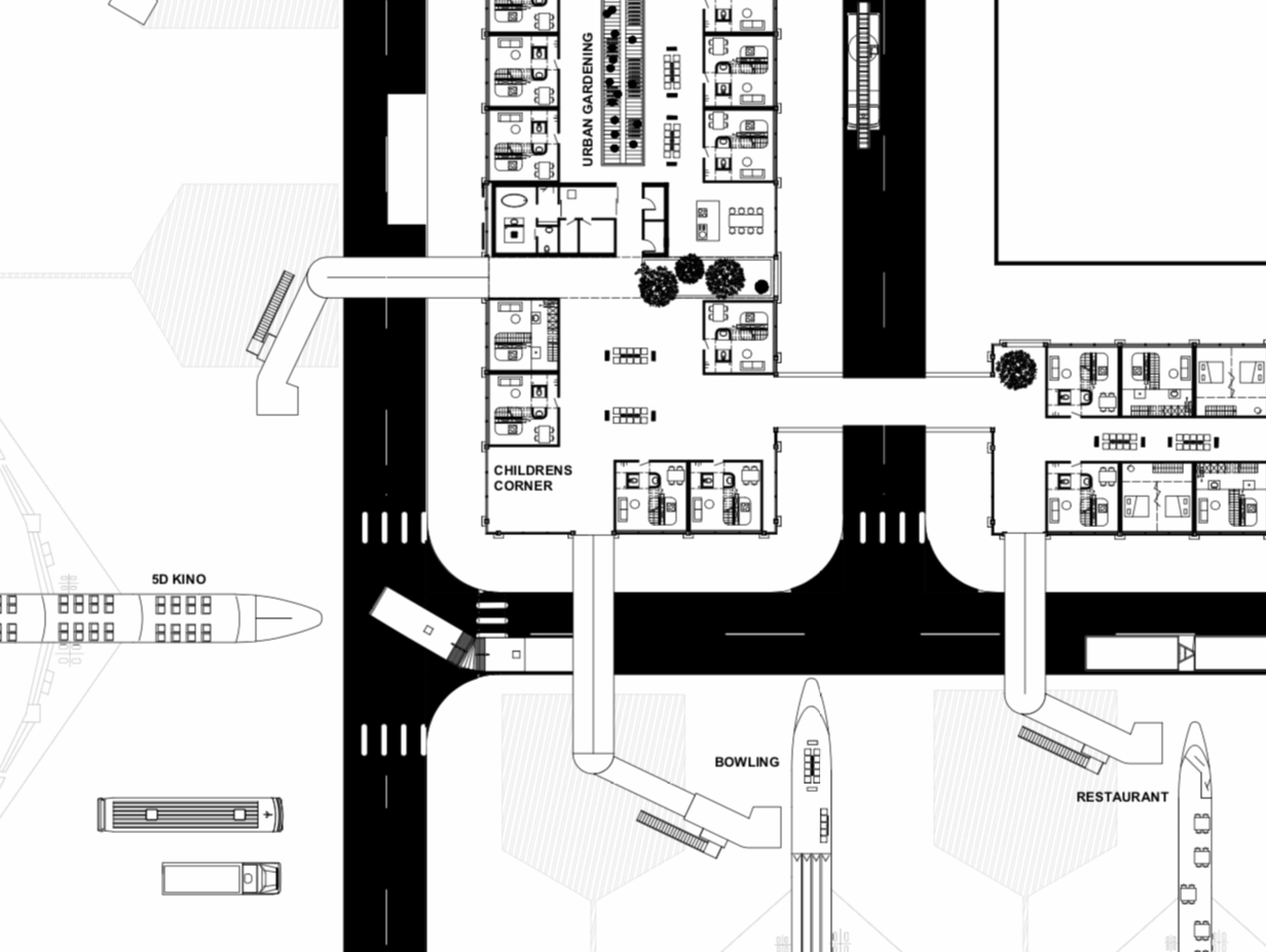 Flughafen BER Kino Restaurant Kegelbahn