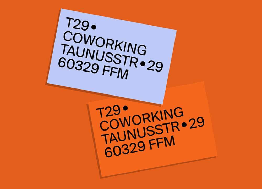 t29 coworking | Visitenkarten