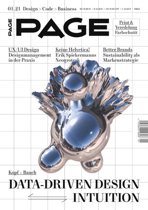 Cover PAGE 01.2021, Branding, Corporate Design, Drucktechniken, Kreativbranche, Typografie, UX Design