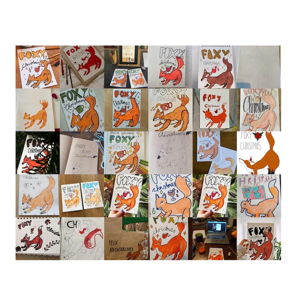 Beim Live Art Club entstandene Fuchs-Zeichnungen