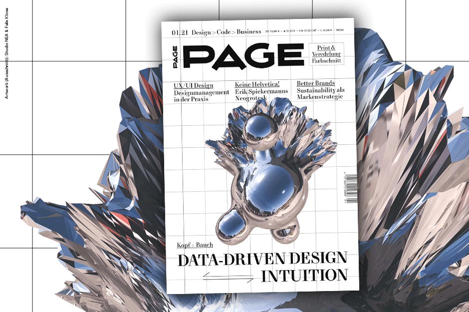 Slider PAGE 01.2021, Branding, Corporate Design, Drucktechniken, Kreativbranche, Typografie, UX Design