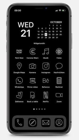 iPhone App-Icons umgestalten minimalistisch Schwarzweiß deutsche Apps