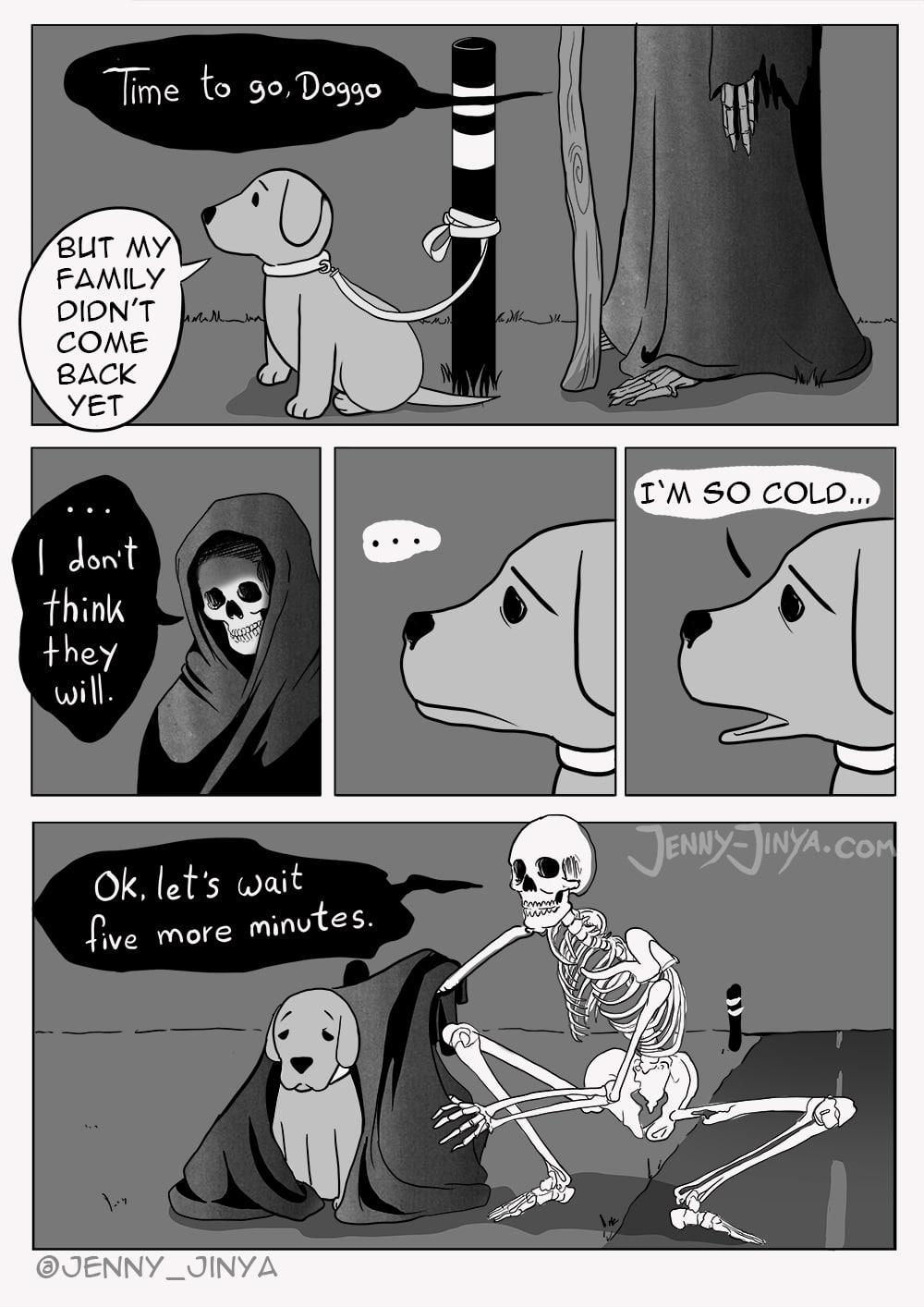 Comic mit dem Tod und dem Hund