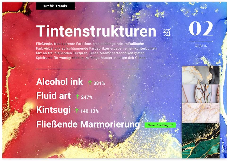 Kreativtrends 2021 Shutterstock Tintenstrukturen
