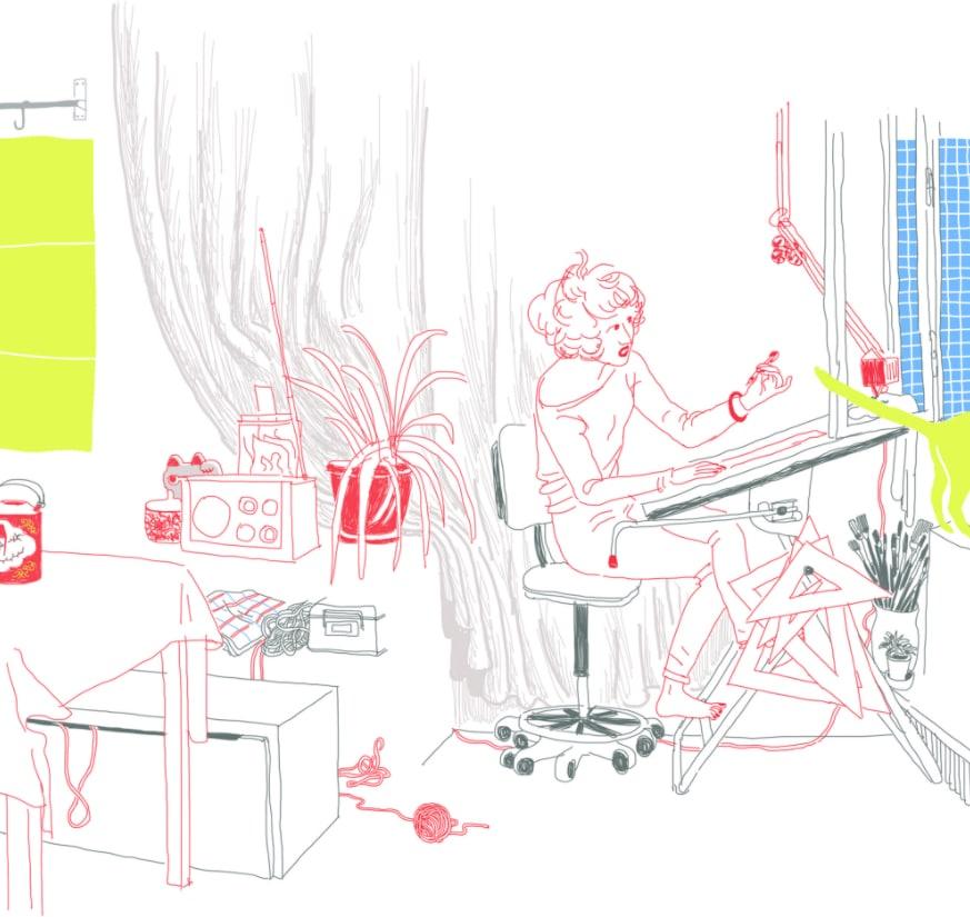 Die Pariser Illustratorin Claire Gastold am Zeichentisch