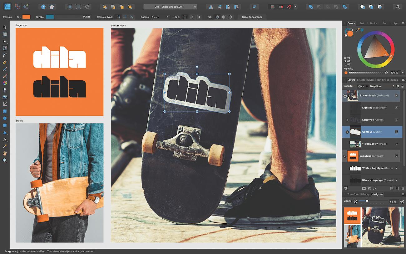 Affinity-Update: Affinity Designer 1.9 hat jetzt ein Umrandungstool