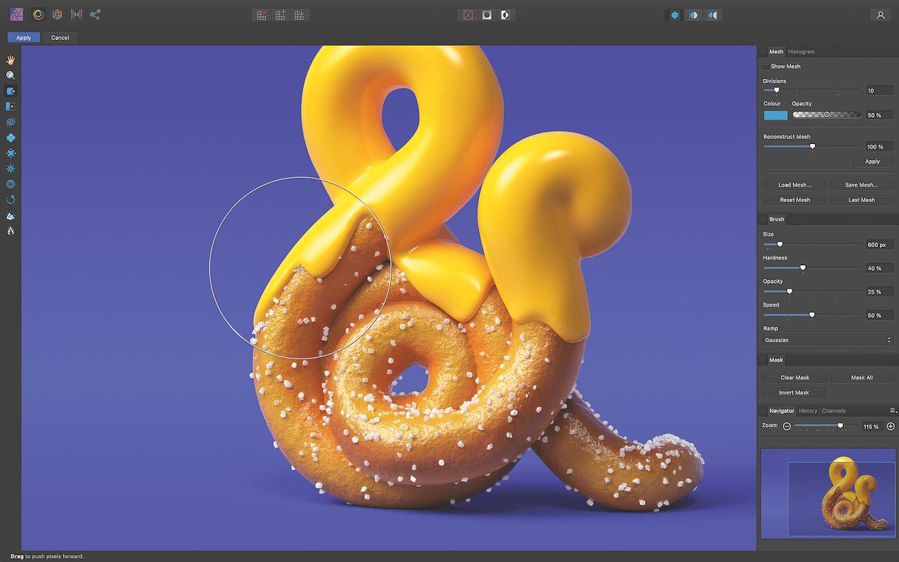 Affinity Photo 1.9 kann Liquify-Effekte zerstörungsfrei anwenden