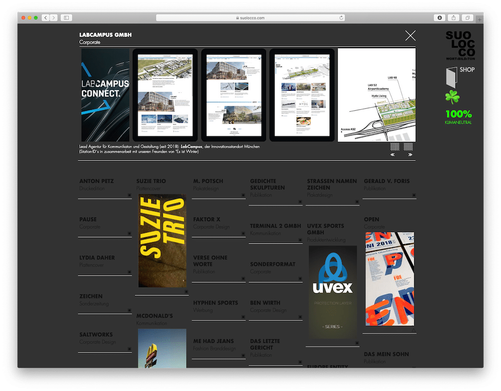 Suolocco Website mit Projekt
