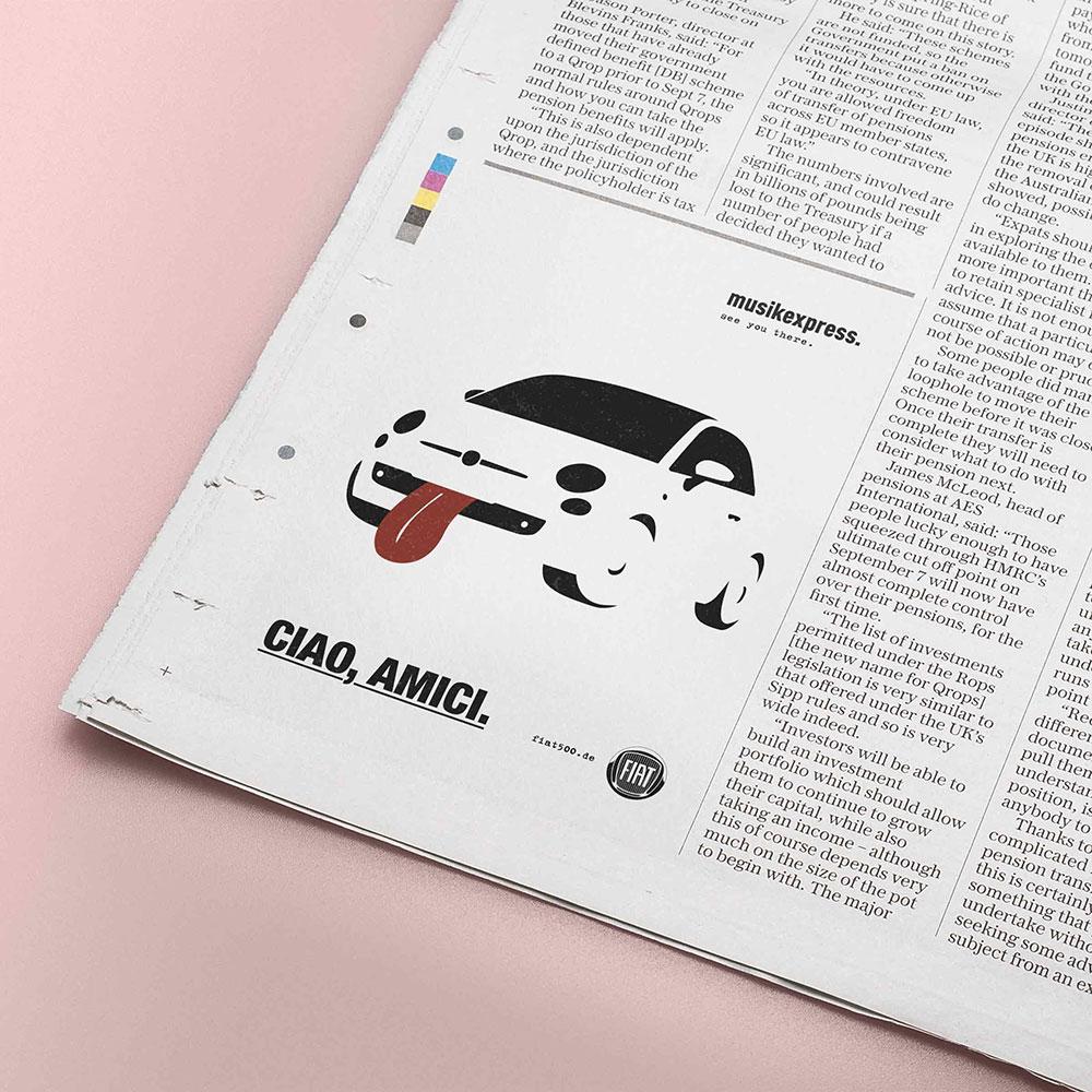 Anzeigengestaltung für den Fiat 500