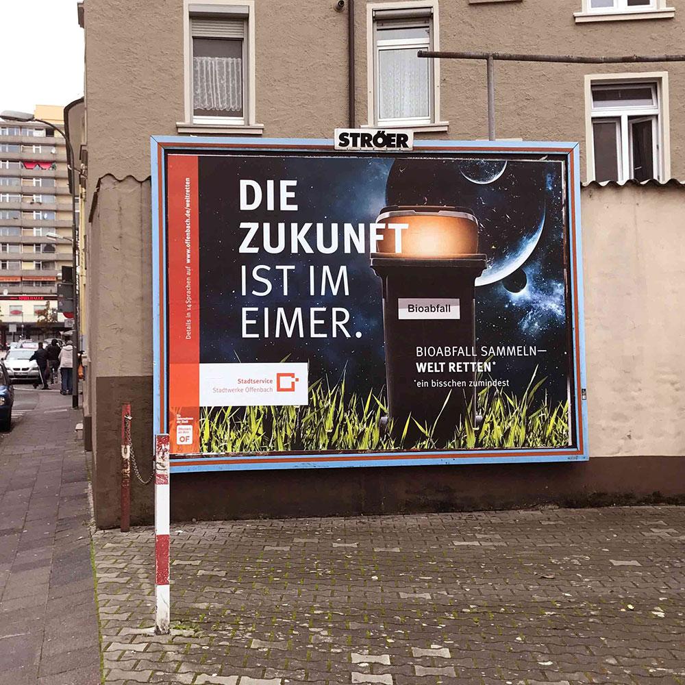 Billboard für die Stadtwerke Offenbach | Zukunft im Eimer
