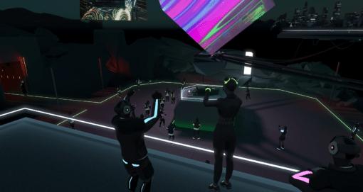 Event Space mit Avataren, dunkel und viele neon highlights