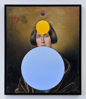 Woman II: Dieses Gemälde verdeutlicht die stetig steigende Anzahl von Frauen in Parlamenten weltweit. Lila: Stand 1900, Gelb: 1950, Blau: 2000.