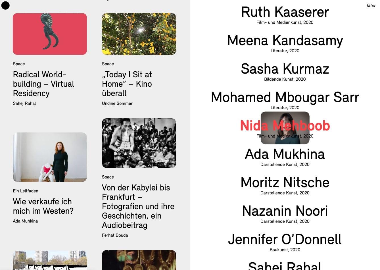 Website Kunst Junge Akademie der Kuenste