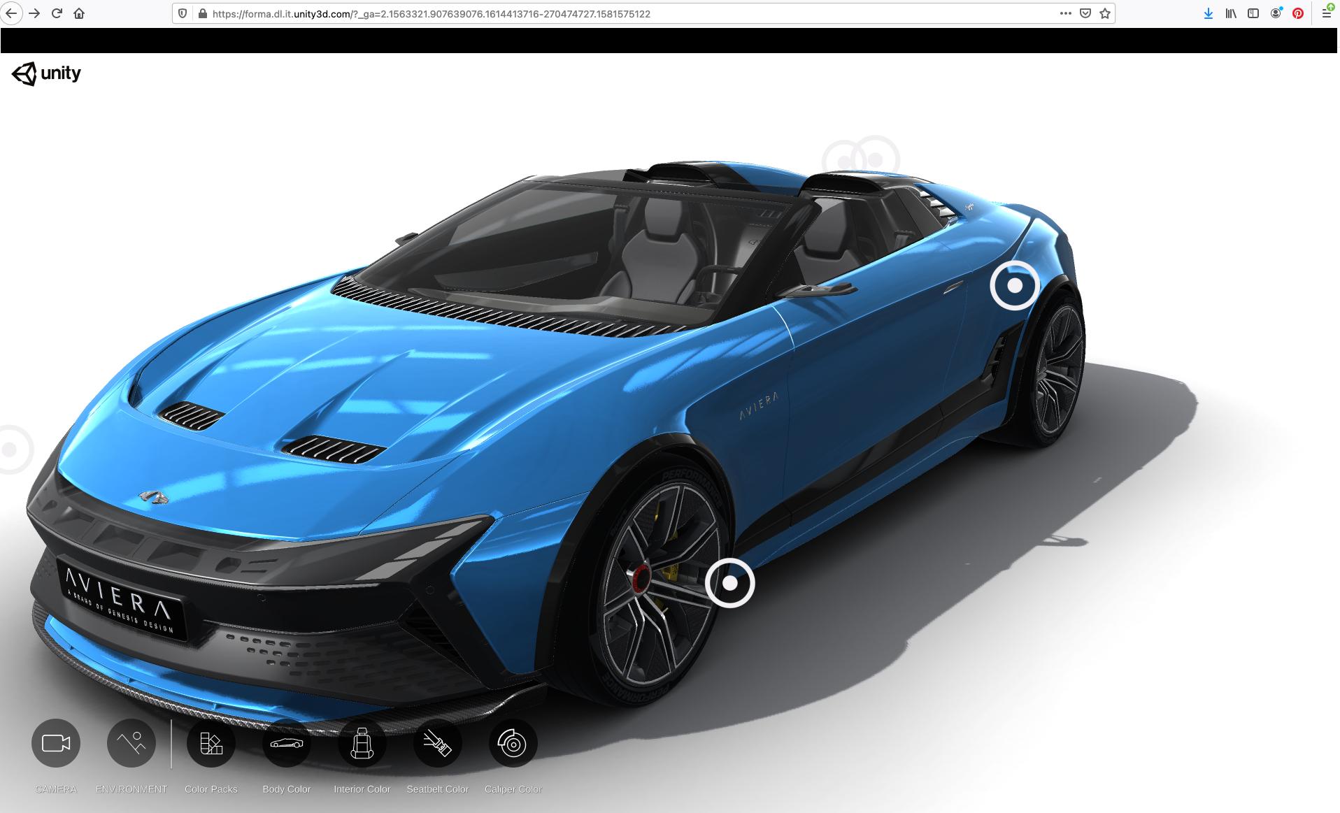 Blauer Sportwagen WebGL