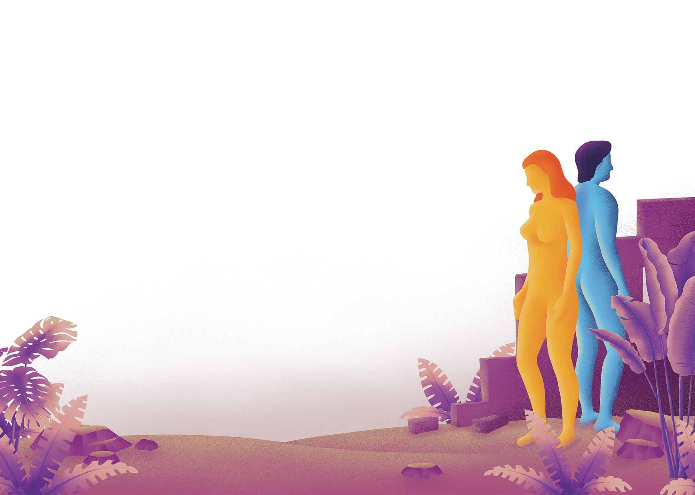 Illustration Mann (balu) und Frau (gelb) Rücken an Rücken