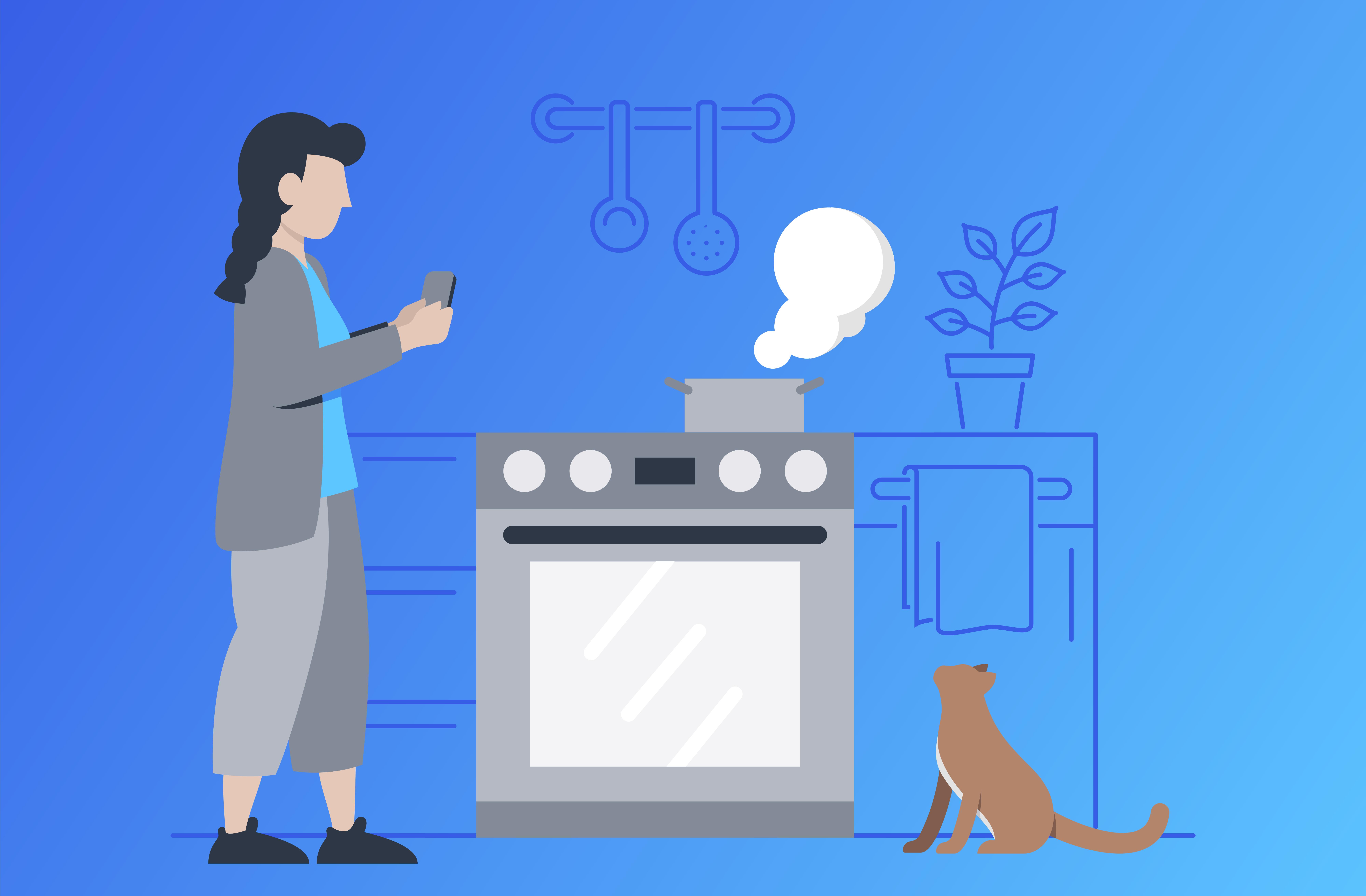 Illustration Frau in Küche