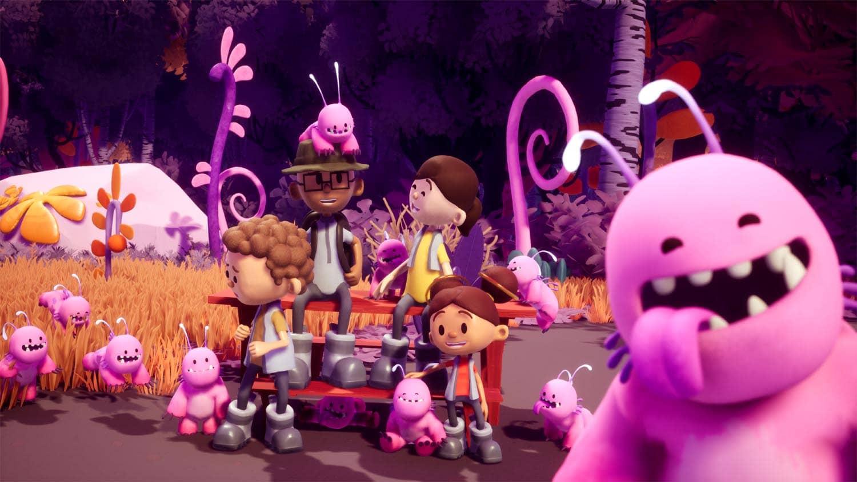 3D Welt mit süßem rosa Monster