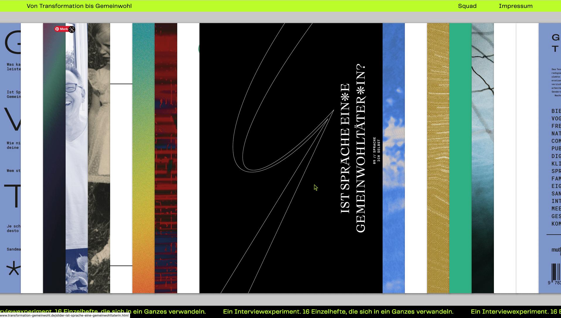 Magazin Gemeinwohl Sprache schwarzes Cover