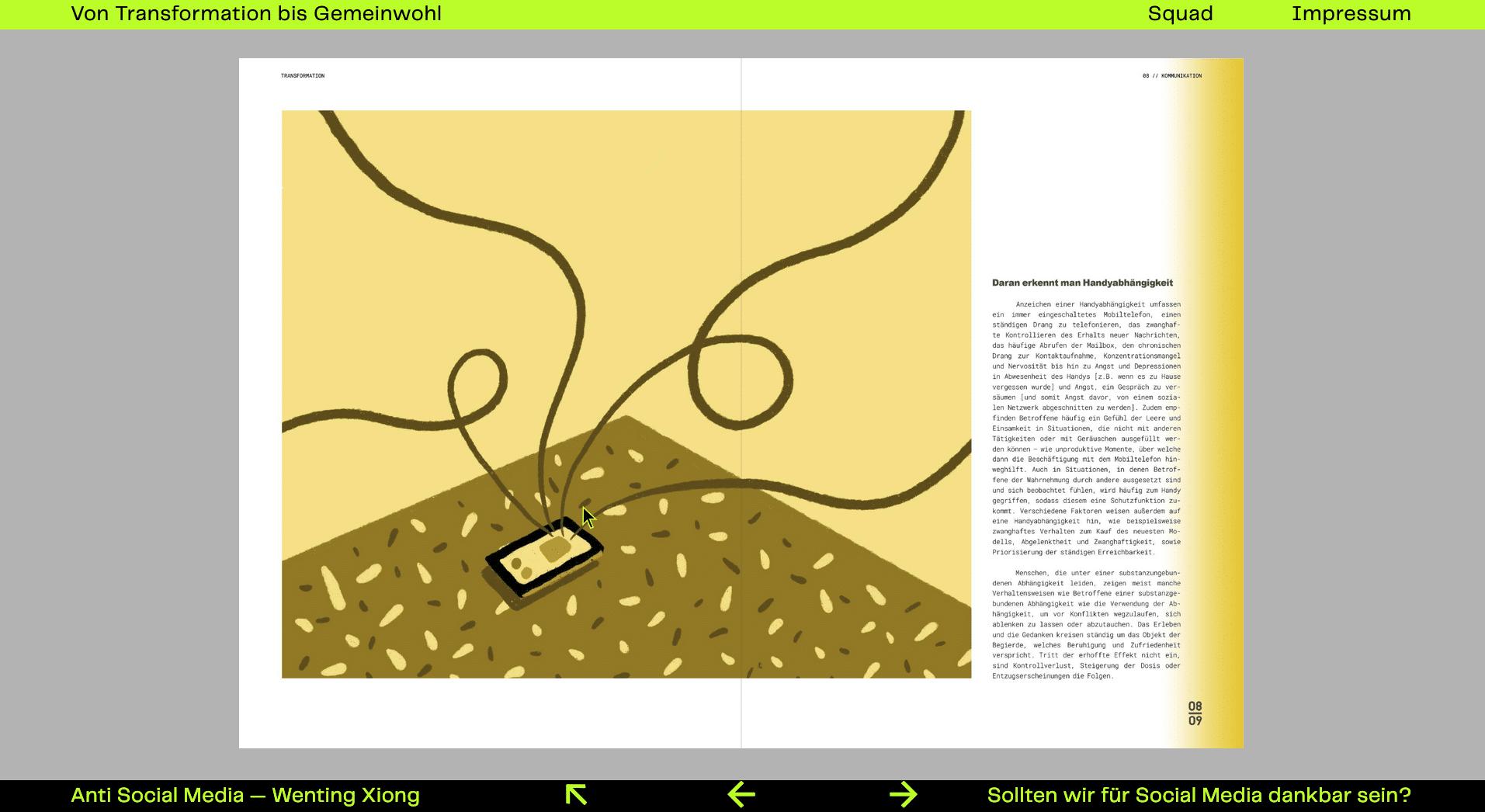 Anti Social Media Heft Mitte Smartphone Illustration mit Text