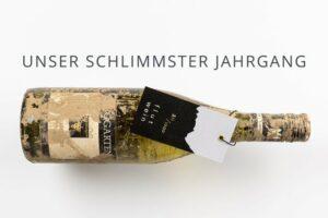 Weinflasche original verschlammt mit hangtag