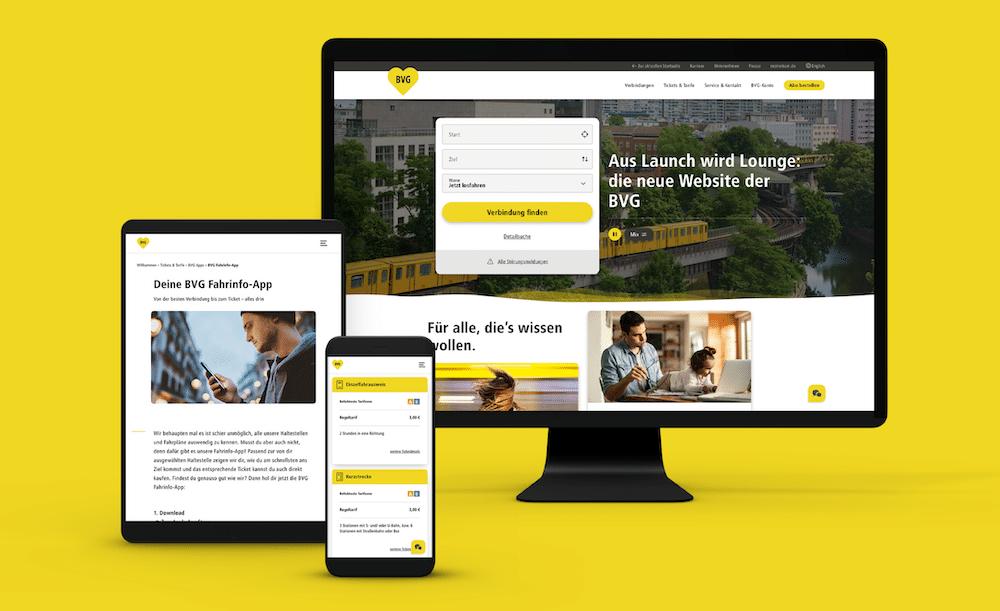 Neue BVG Website von Aperto auf verschiedenen Devices