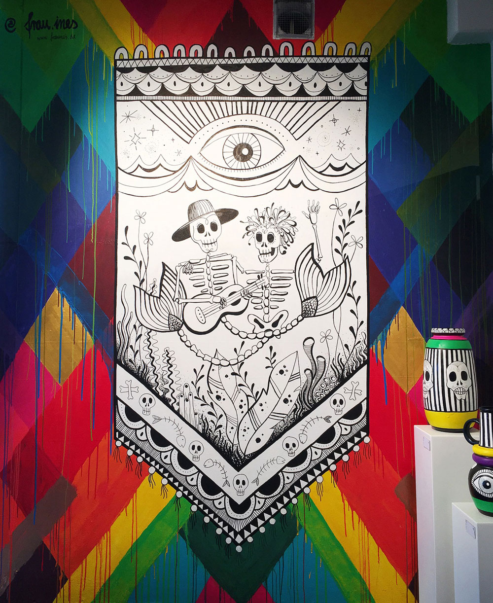 Mural und Ausstellung zum Thema »Art creates Water« in der Millerntorgallery 2019 | Acryl auf Wand und Keramik