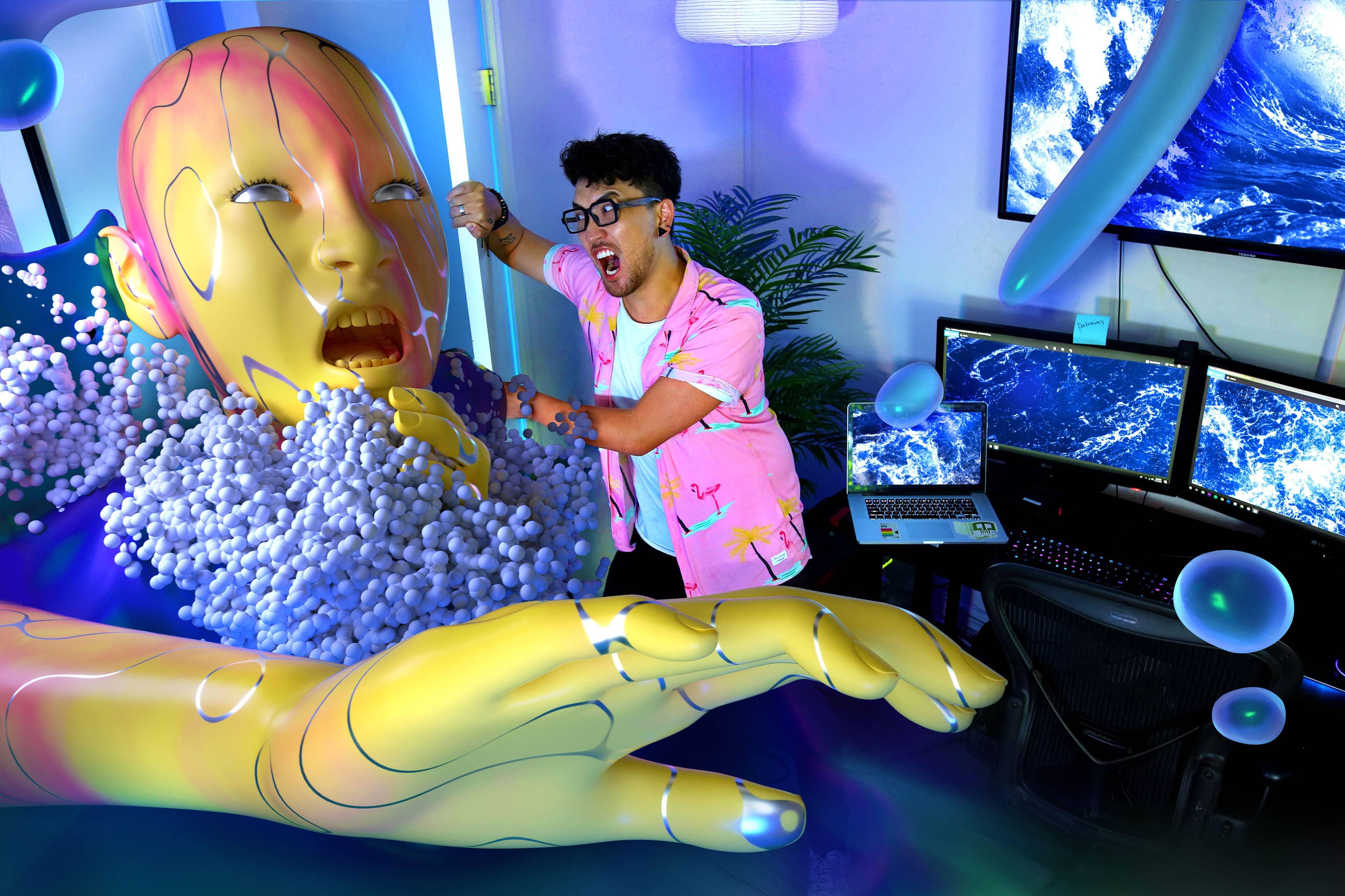 Raum mit überlebensgroßem Avatar