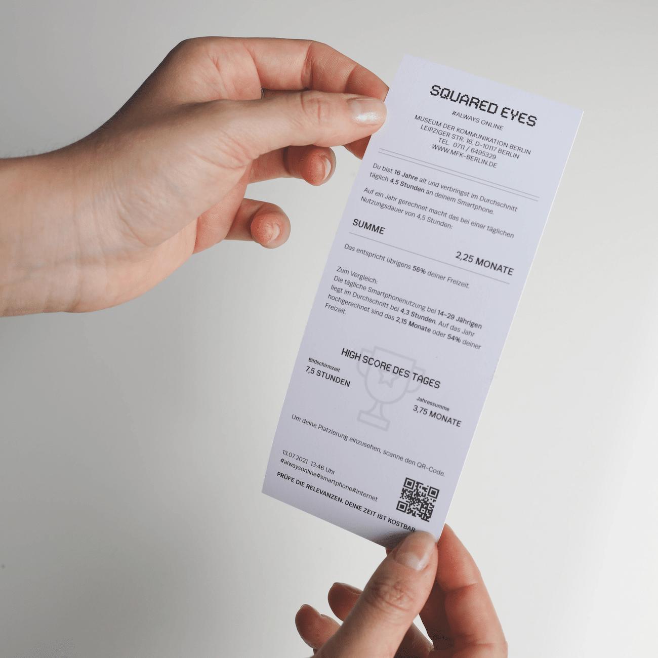 Kassenbonausdruck zur Bildschirmzeit mit QR-Code